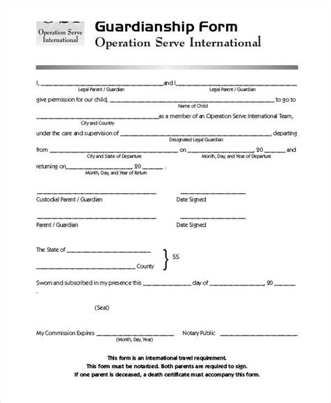Guardianship Forms 9 Free Pdf Word Free Premium Templates Naming A Guardian For Your Child Template