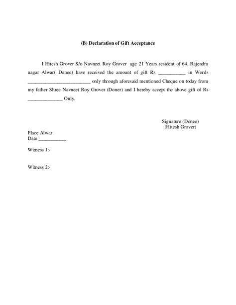 Declaration Of Gift Letter Uk Declaration Of Gift