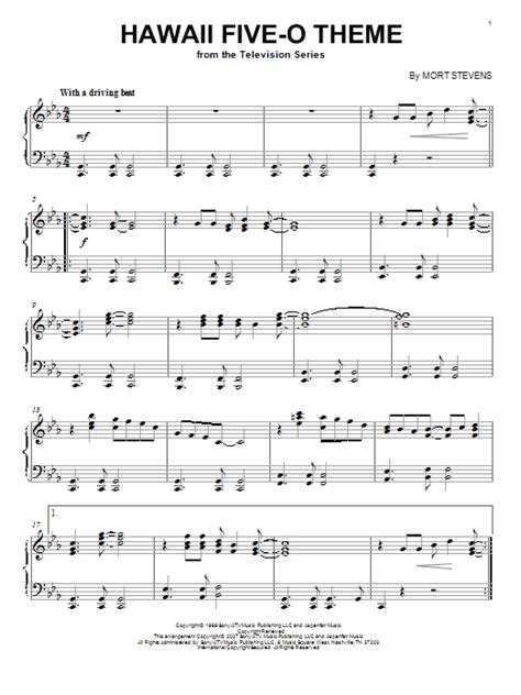 Theme Song Hawaii Five O | hawaii five o theme sheet music by the ventures piano