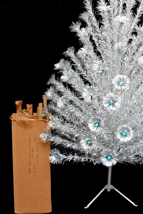 silver forest aluminum christmas tree vintage mid century silver forest aluminum pom pom tree 6 1 2 ebay