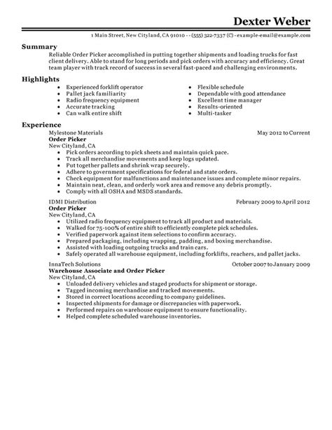 Building Maintenance Resume Examples by Order Picker Resume Examples Government Amp Military