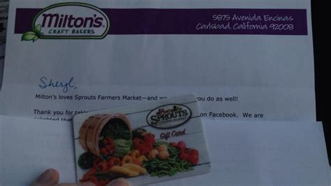 Sprouts Gift Cards - sprouts free 10 gift card from milton s crackers