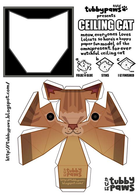 Tubbypaws Papercraft - ceiling cat cutout 171 ceiling systems