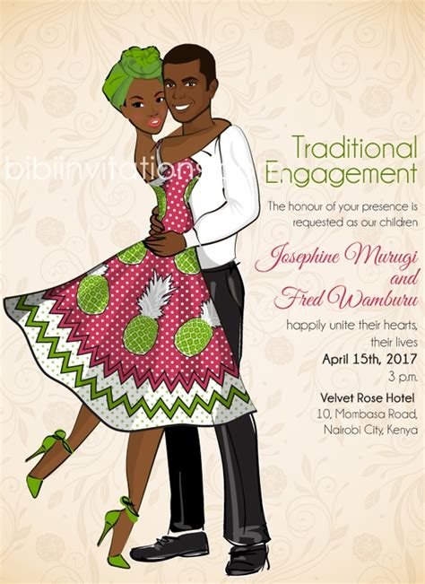Kenyan Traditional wedding invitation Card
