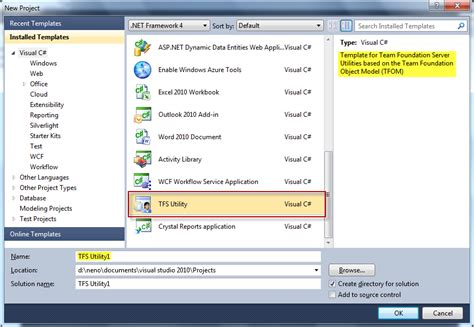 download visual studio 2010 project template for tfs