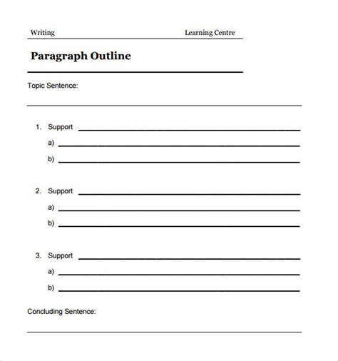 outline template sle blank outline template 7 free documents in pdf doc