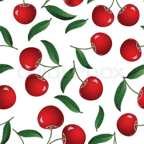 cherry pattern vector art vector fruit icon seamless cherry background fabric