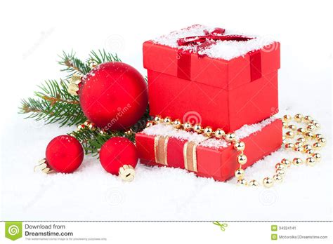 festive decorations christmas red gift with festive decorations stock image