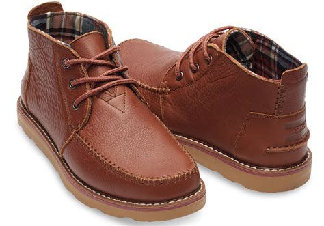 Chukka Leather Shoes By Skitso Co toms brown grain leather s chukka boots in brown