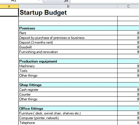 business start up budget template startup budget template excel