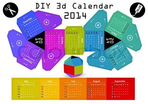 Papercraft Calendar - paper kalender 2014 bunte vektorgrafik colourbox
