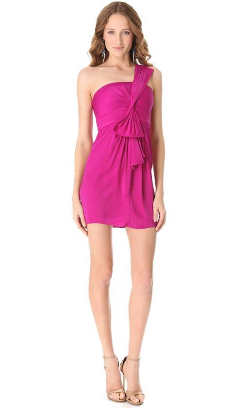 Sc3068 Azalea Maxi Magenta lyst bcbgmaxazria palais one shoulder dress in purple