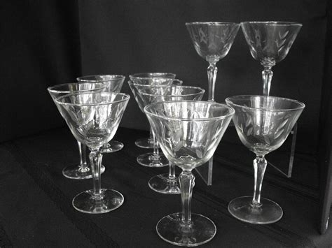 etched barware vintage etched glassware sherberts set of 10 circa