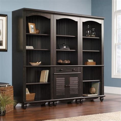 Sauder Harbor View Library Wall Bookcase In Antiqued Paint Sauder Library Bookcase