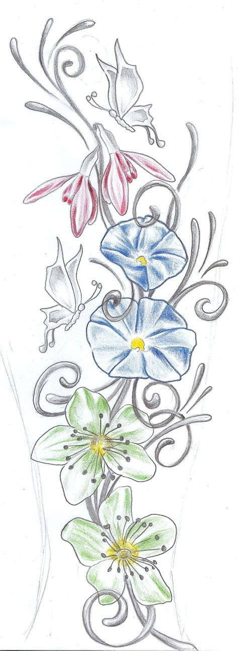 design flower and butterfly butterflies flowers tat design by 2face tattoo on deviantart