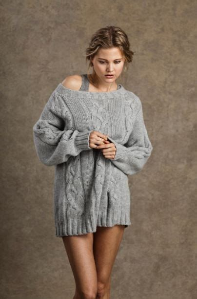 Oversized Cable Knitted Sweaters Light Grey