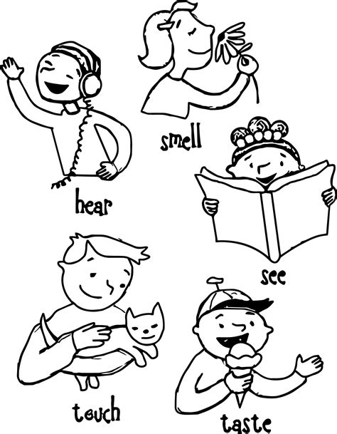 Children 5 Senses Coloring Page Wecoloringpage Five Senses Free Coloring Pages
