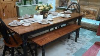 country style dining table with bench beautiful farm table with matching bench and chairs