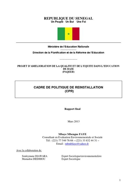 Resume Executif Definition Rapport Cpr Paqeeb Mars 2013
