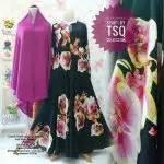 Gamis Khadijah Syari Jersey Black Flower gamis syar i cantik b101 big flower model baju muslim modern