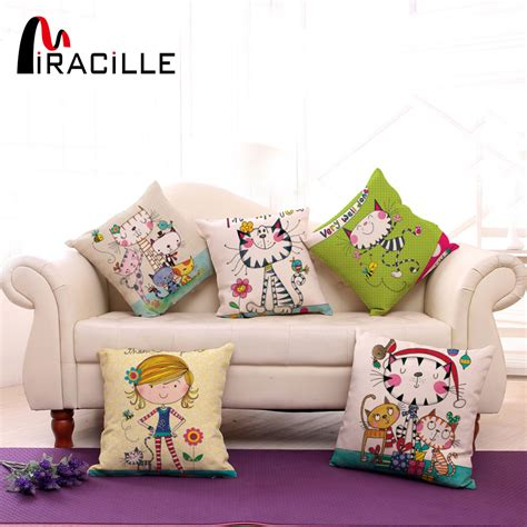 square cotton bed sofa throw cushion inner pad insert square 18 quot cotton linen cute girl and cartoon cats printed