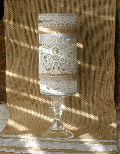 vintage burlap wedding vase wedding centerpiece
