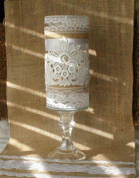Vintage burlap wedding vase, Victorian wedding centerpiece