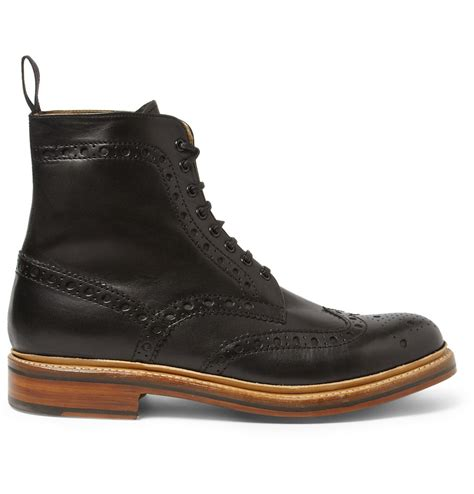 black brogue boots grenson fred leather brogue boots in black for lyst