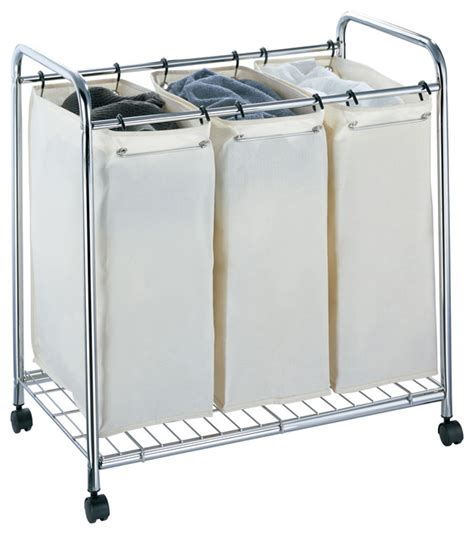 4 section laundry her 3 section chrome laundry sorter hers by organize it all