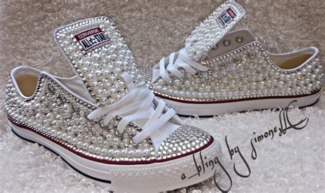bling converse sneakers adults custom bling and pearls converse