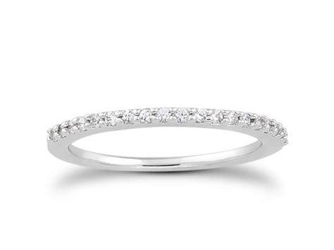 slender micro prong wedding ring band in 14k white
