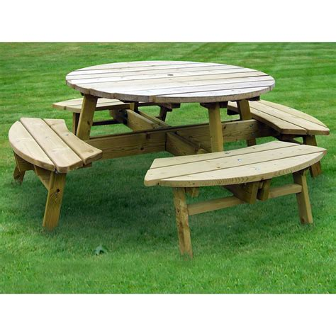round table and bench round garden picnic bench pub style 8 seater wooden