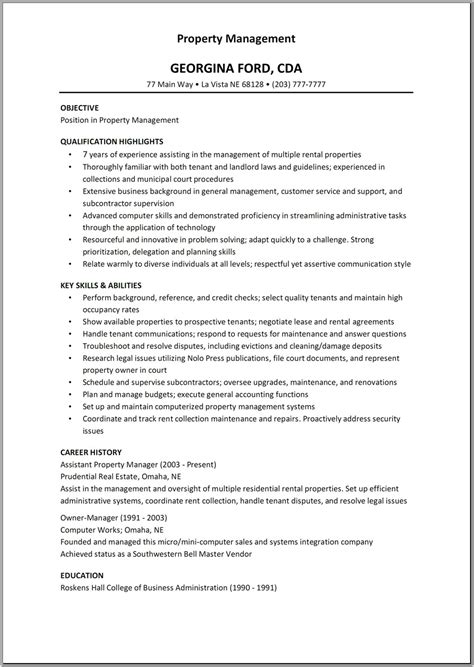 residential property manager resume sles residential property management resume free resume templates