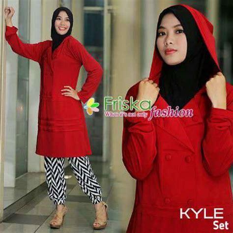 Celana Jogger Navy Bu kyle merah baju muslim gamis modern