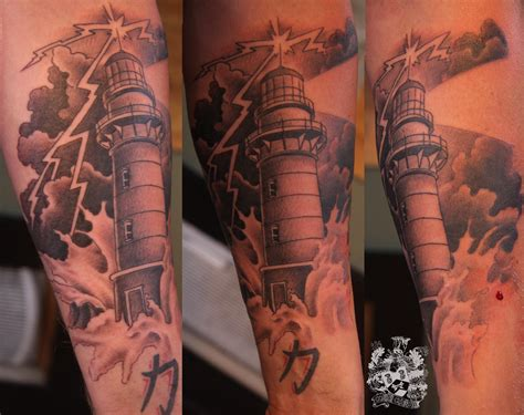 lighthouse cobra custom tattoo