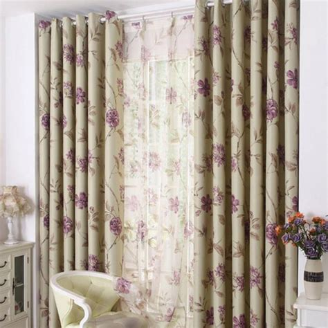 country curtains on sale purple floral print polyester country bedroom curtains on sale
