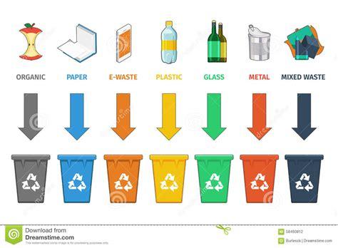 clipart rifiuti separazione dei recipienti di riciclaggio vettore della