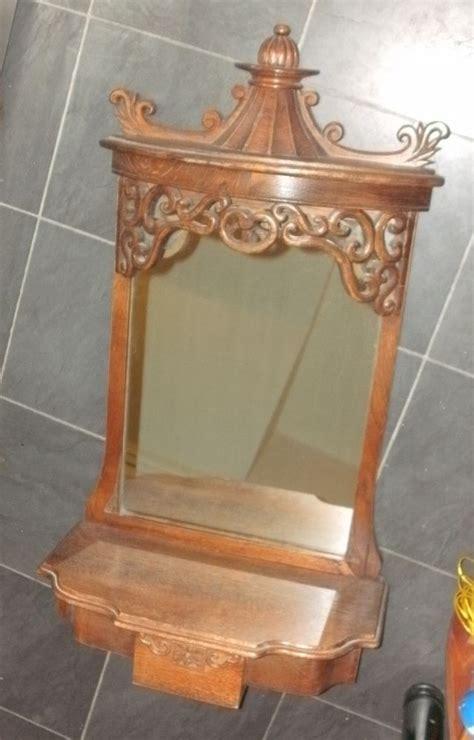 antique rococo oak wood vintage hall wall mirror