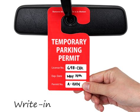 Custom Parking Hang Tags See In Action Temporary Parking Pass Template