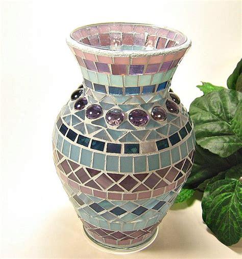stained glass mosaic vase plum purple steel blue