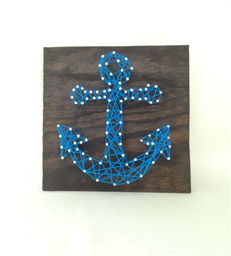 Anchor String - blue anchor nail and string home wall decor