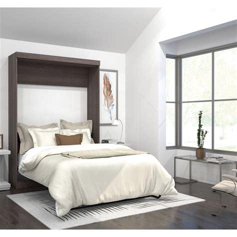 full wall bed bestar pur full wall bed in bark gray 26183 47