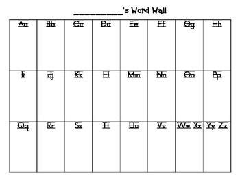 portable word wall template student word wall