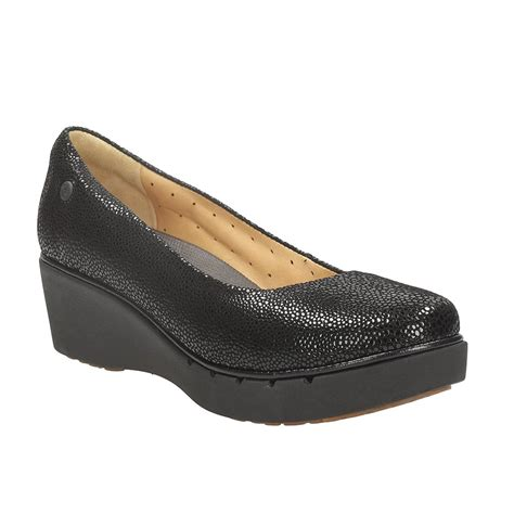 black wedge shoes clarks un estie women s wedge shoes in leather from