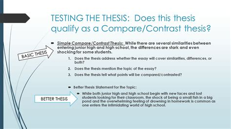 compare contrast thesis statement compare and contrast essay writing ppt