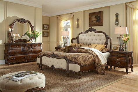 clasic bedroom bedroom set with fabric inserts lavelle milange by aico