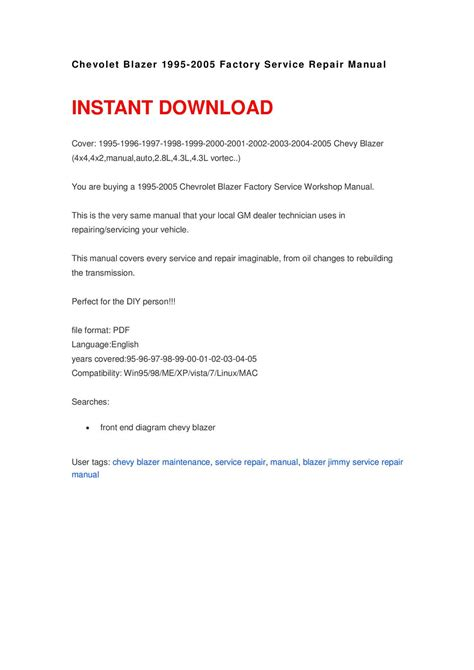 download car manuals pdf free 2005 chevrolet colorado electronic toll collection calam 233 o chevolet blazer 1995 2005 repair manual