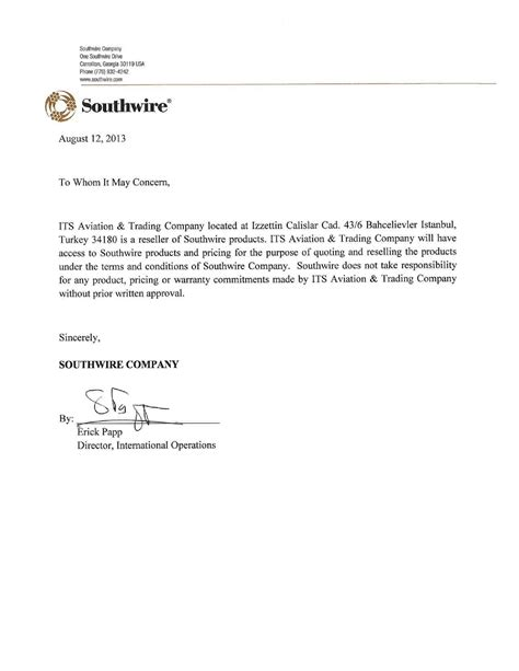 Sle Letter For Product Endorsement Endorsement Letters Its Aviation Trading Company