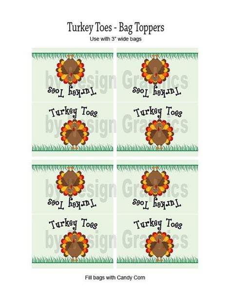 printable turkey toes digital thanksgiving treat bag toppers labels quot turkey