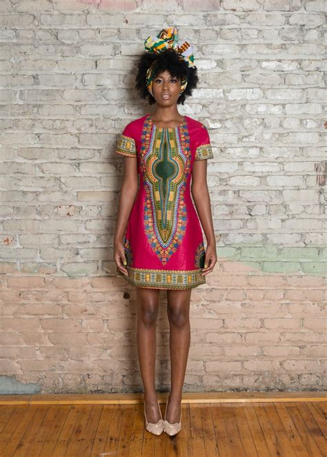 african green dashiki african print dress pink green ruvaafricwear
